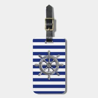 Le chrome aiment la roue sur les rayures nautiques étiquette pour bagages