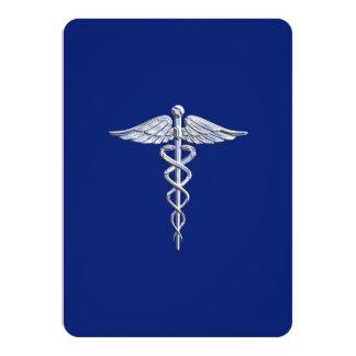 Le chrome aiment le bleu marine médical de symbole carton d'invitation  11,43 cm x 15,87 cm