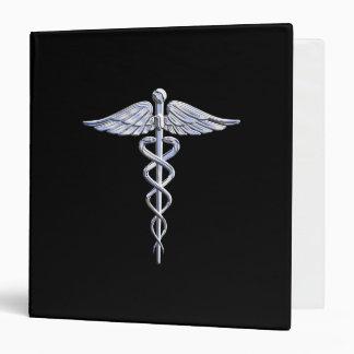 Le chrome aiment le symbole médical de caducée classeurs 3 anneaux