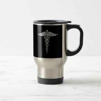 Le chrome aiment le symbole médical de caducée mug de voyage en acier inoxydable