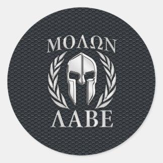 Le chrome de Molon Labe aiment le casque spartiate Sticker Rond