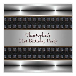Le chrome en cuir noir équipe la 21ème fête carton d'invitation  13,33 cm