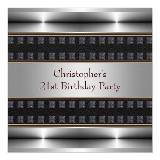 Le chrome en cuir noir équipe la 21ème fête d'anni invitation
