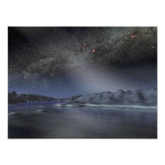 Le ciel nocturne d'une planète étrangère impression photographique