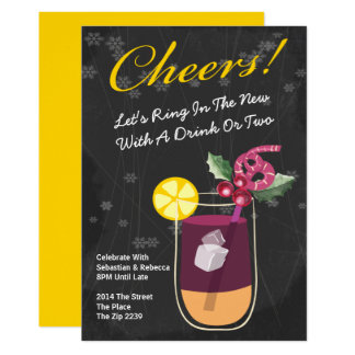 Le cocktail de nouvelle année boit la partie carton d'invitation  12,7 cm x 17,78 cm