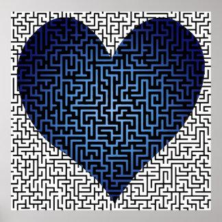 Le coeur est un croquis de mise au point de labyri poster