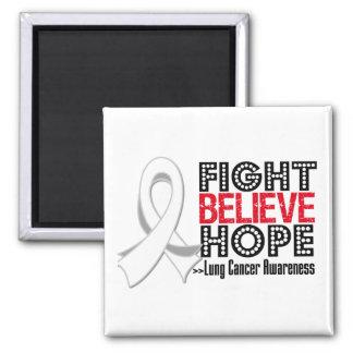 Le combat croient l'espoir - cancer de poumon magnet carré