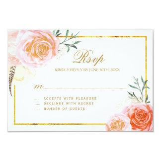 Le corail élégant, rougissent des cartes de rose carton d'invitation 8,89 cm x 12,70 cm