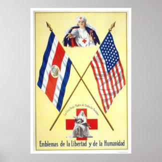 Le Costa Rica - emblèmes de la liberté et de l'hum Poster