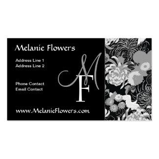 Le cru noir et blanc élégant fleurit le monogramme carte de visite standard
