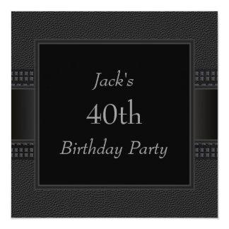 Le cuir noir équipe la quarantième fête carton d'invitation  13,33 cm
