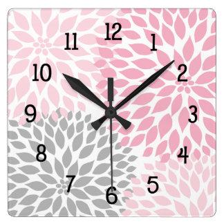 Le dahlia moderne fleurit le rose et le gris gris horloge carrée