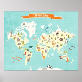 Le décalque de mur de carte du monde d'affiche du poster