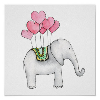 Le décor de crèche d'impression d'éléphant poster