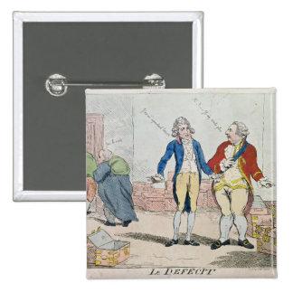 Le Deficit, 1788 2 Inch Square Button
