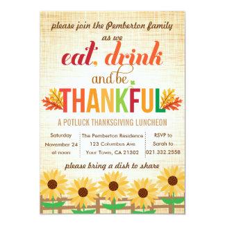 Le déjeuner Potluck de thanksgiving mangent la Carton D'invitation 12,7 Cm X 17,78 Cm
