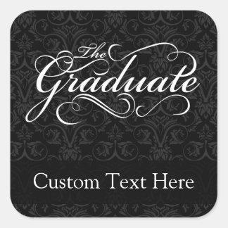 Le diplômé, noir élégant sticker carré