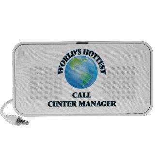 Le directeur du centre d'attention téléphonique le haut-parleurs iPhone