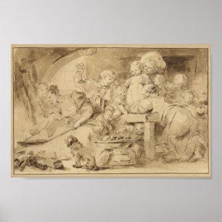 Le fabricant de crêpe par Jean-Honore Fragonard Affiche