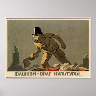 Le fascisme est l'ennemi de la culture, URSS 1939 Poster