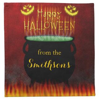 Le feu heureux de chaudron de Halloween Serviettes