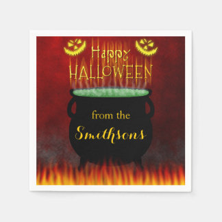 Le feu heureux de chaudron de Halloween Serviettes En Papier