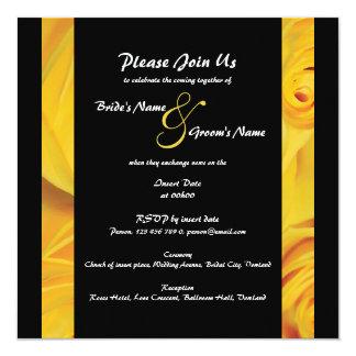 Le fiançailles jaune noir de mariage carton d'invitation  13,33 cm