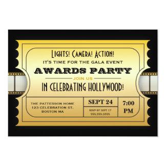 Le film annuel attribue à partie le billet d'or carton d'invitation  12,7 cm x 17,78 cm