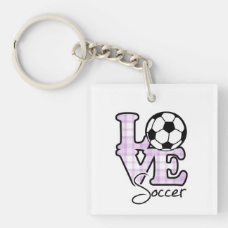 Le football d'amour porte-clé carré en acrylique double face