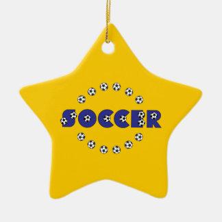Le football dans le bleu ornement étoile en céramique