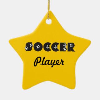 Le football dans le noir ornement étoile en céramique