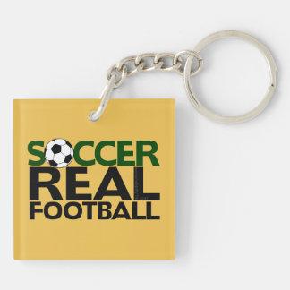 Le football de Soccer=Real Porte-clé Carré En Acrylique Double Face