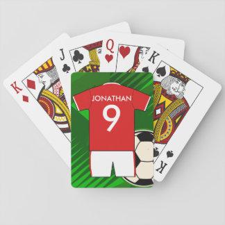 Le football Jersey en rouge et le blanc personnali Cartes À Jouer