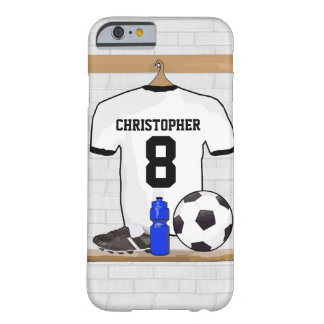 Le football Jersey noir blanc personnalisé du Coque Barely There iPhone 6