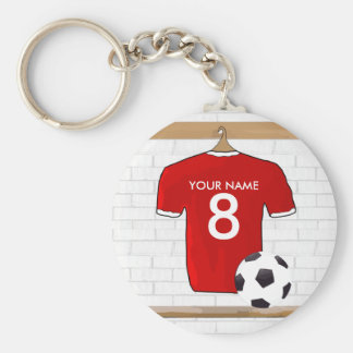 Le football Jersey rouge et blanc personnalisé du Porte-clé Rond