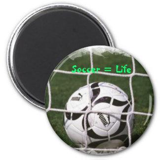 Le football = la vie magnet rond 8 cm