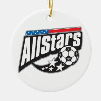 Le football toutes les étoiles ornement rond en céramique