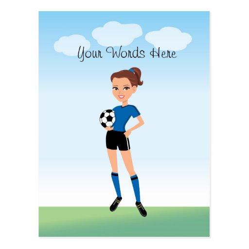 Le footballeur de la fille personnalisé carte postale