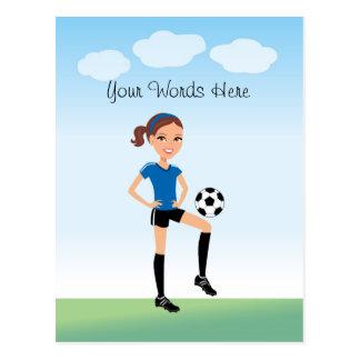 Le footballeur de la fille personnalisé cartes postales