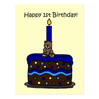 le garçon concernent le ęr anniversaire de gâteau carte postale