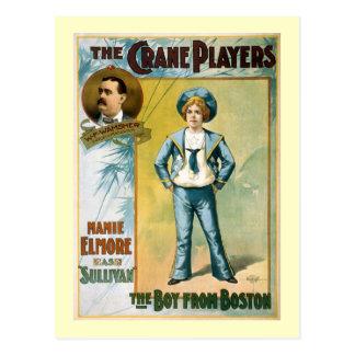 Le garçon de l'affiche vintage de théâtre de carte postale