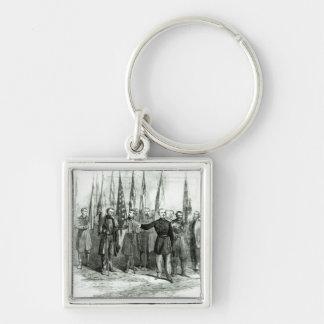 Le Général Custer Porte-clé Carré Argenté