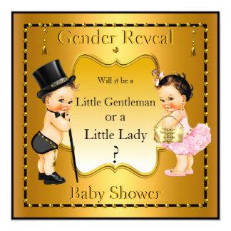 Le genre indiquent la brune d'or de fille de carton d'invitation  13,33 cm