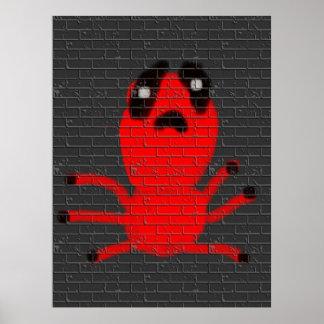 Le graffiti de peinture de mur de Brown d'araignée Poster