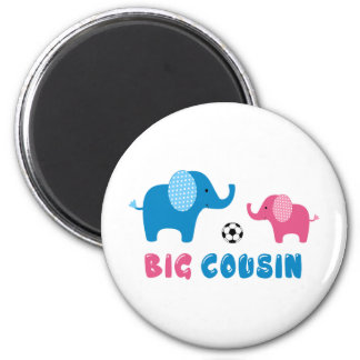 Le grand football d'éléphant de cousin magnet rond 8 cm