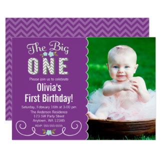 Le grand un anniversaire de photo pourpre de carton d'invitation  12,7 cm x 17,78 cm