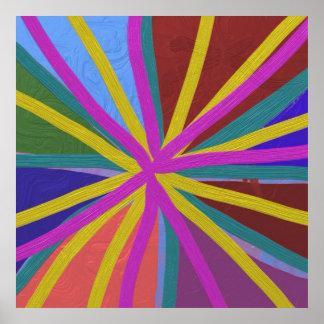 Le griffonnage coloré de peinture raye la roue con posters