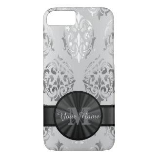 Le gris a personnalisé le motif de damassé de coque iPhone 7