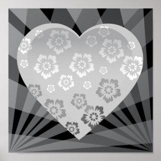 le GRIS heart-6 GRIS BLANC NOIR FLEURIT LE COEUR E Poster