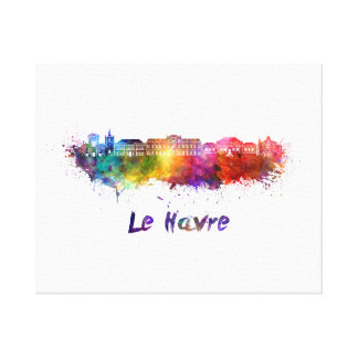 Le Havre skyline in watercolor Canvas Print